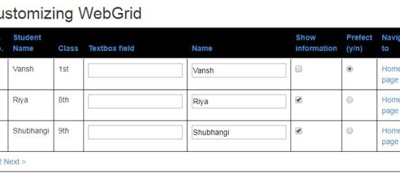 How to create, customize MVC WebGrid in ASP.Net