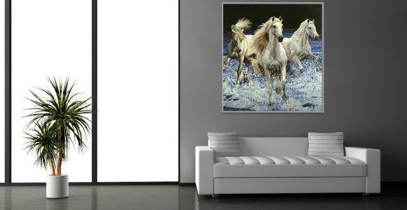 The wild Beauty and elegance of horse mosaic artworks.